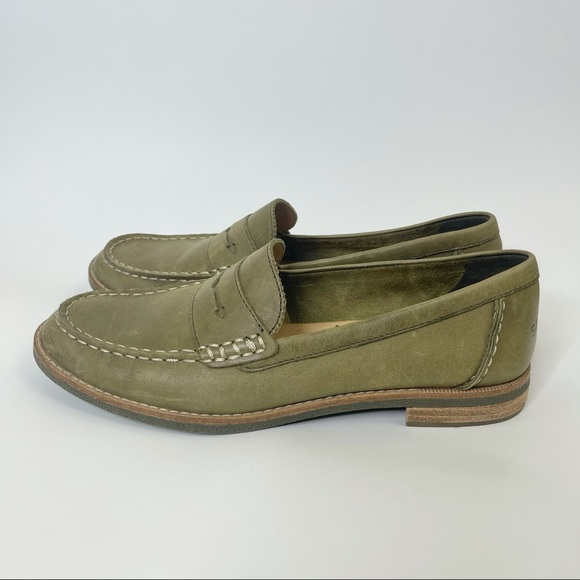 Sperry Seaport Olive Green Penny Loafer Size 7.5
